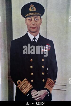 Colour photograph of His Majesty King George VI (1895-1952) King of the United Kingdom and the Dominions of the British Commonwealth. Dated 1940 - Stock Photo