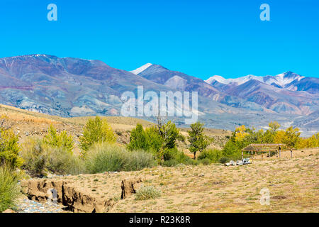Valley of the Kyzyl-Chin river in the area called Martian landscape, Chuya steppe, Altai Krai - Stock Photo