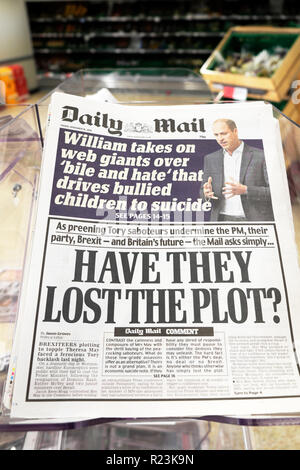 Daily Mail newspaper headlines  'Have They Lost the Plot?' on Brexit in London UK 16 November 2018 - Stock Photo