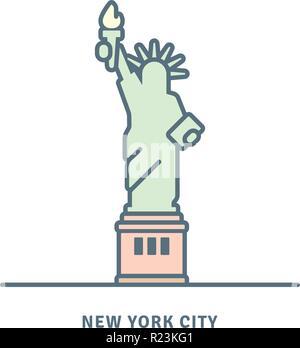 New York City landmark line icon. Statue of Liberty vector illustration. - Stock Photo
