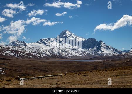 View of Huayna Potosi mountain in Cordillera Real near La Paz, Bolivia - Stock Photo