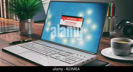 Virus detected, Internet security concept. Computer laptop, office background. 3d illustration - Stock Photo