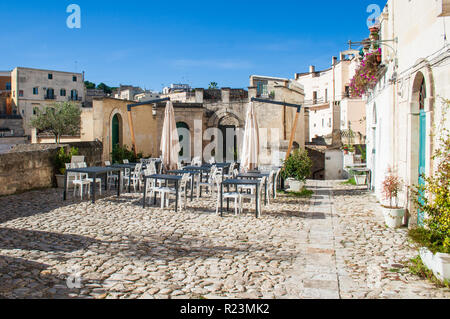 Restaurant at Sassi or stones of Matera European capital of culture 2019, Basilicata, Italy - Stock Photo