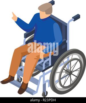 Invalid man in wheelchair icon, isometric style - Stock Photo
