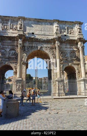 ROME, ITALY - JUNE 23, 2017: Amazing view of Arch of Constantine near Colosseum in city of Rome, Italy - Stock Photo