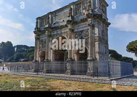 ROME, ITALY - JUNE 24, 2017: Amazing view of Arch of Constantine near Colosseum in city of Rome, Italy - Stock Photo