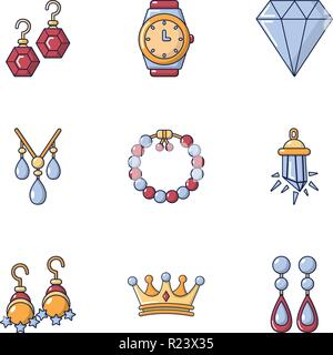 Earring icons set, cartoon style - Stock Photo