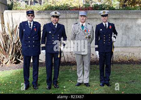 Sat 10th Nov 2018. French Ambassador Jean-Pierre Jouyet at the Free French Military section to lead a remembrance service & award military medals. - Stock Photo