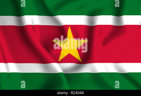 Suriname 3D waving flag illustration. Texture can be used as background. - Stock Photo