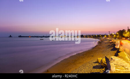 Sunset in Methoni town, in Messinia prefecture, Peloponnese, southern Greece. - Stock Photo