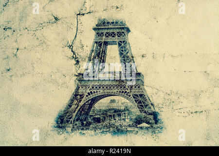 Eiffel Tower in Paris. Vintage view background. Tour Eiffel old retro style photo with cracks crumpled paper. Postcard style. - Stock Photo