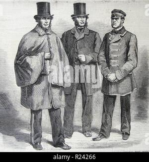 Engraving depicting the new uniforms of postal staff and the General Post Office. Left to right: Letter Carrier, Mail Guard and Driver. Dated 1860 - Stock Photo