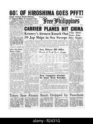 Headline front page on the 'Free Philippines' newspaper of 9th August 1945 describes the atom bomb dropped on Hiroshima in Japan at the end of world war two - Stock Photo