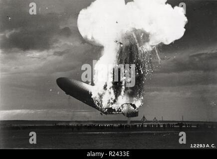 The Hindenburg disaster took place on Thursday, May 6, 1937, as the German passenger airship LZ 129 Hindenburg caught fire and was destroyed during its attempt to dock at Lakehurst, New Jersey, United States Stock Photo