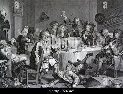 Engraving by British artist & engraver, William Hogarth 1697-1764: 'A Midnight Modern Conversation 18th century - Stock Photo