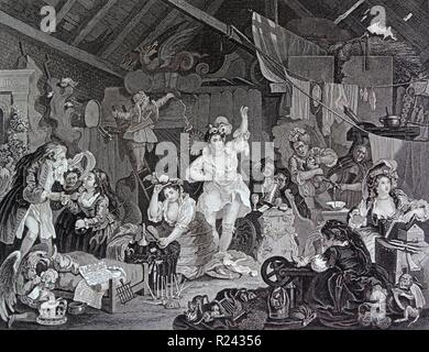 Engraving by British artist & engraver, William Hogarth 1697-1764: Strolling Actresses Dressing in a Barn 1738. depicts a company of actresses preparing for their final performance before the troupe is disbanded as a result of the Licensing Act 1737 18th century - Stock Photo