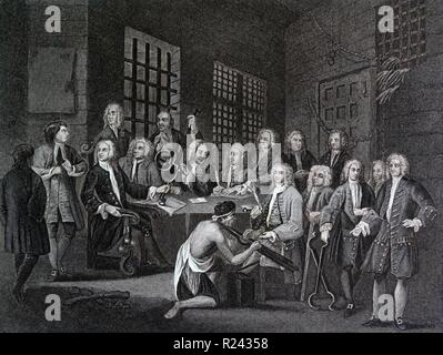 Engraving by British artist & engraver, William Hogarth 1697-1764: Bambridge on Trial for Murder by a Committee of the House of Commons, engraved by Thomas Cook 1803 18th century - Stock Photo