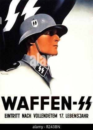 Waffen SS. Nazi propaganda recruitment poster 'Join at 17 or older' 1941 - Stock Photo
