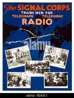 U.S. Army Signal Corps recruiting poster showing a map of the world with lines of communication and views of classrooms, offices, workshops, and field instruction. Dated 1919 - Stock Photo