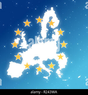 Europe map over a starry sky with the 12 stars of the flag. - Stock Photo