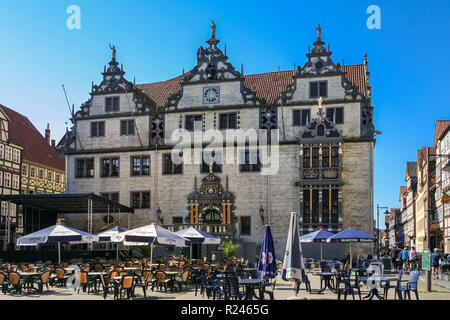 Hann. Münden, Lower Saxony/Germany - May 2008: The famous town hall is a heritage-protected building. Its façade in a Renaissance architectural style... - Stock Photo