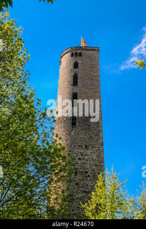Nice view of the Hampesche Turm, a horseshoe-shaped or D-shaped wall tower of Hann. Münden, a town in Lower Saxony, Germany. The mural tower is a... - Stock Photo