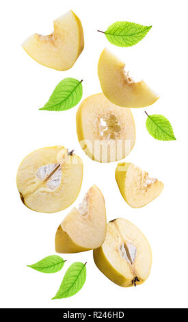 Flying quinces isolated on white background with shadow. Clipping path - Stock Photo