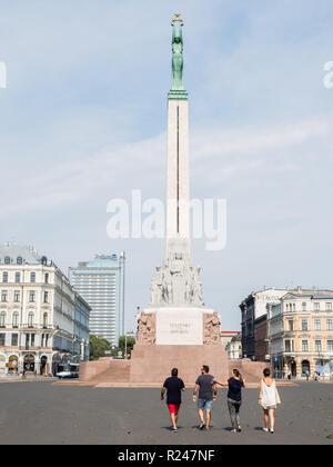 The Freedom Monument honors people killed during the Latvian War of Independence, Riga, Latvia, Baltics, Europe - Stock Photo