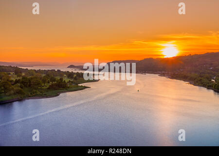Sunset over River Clyde viewed from the Erskine Bridge, Erskine, Scotland, United Kingdom, Europe - Stock Photo