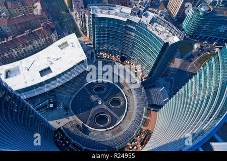 Piazza Gae Aulenti, view from the Unicredit tower, Porta Nuova district, Milan, Lombardy, Italy, Europe - Stock Photo