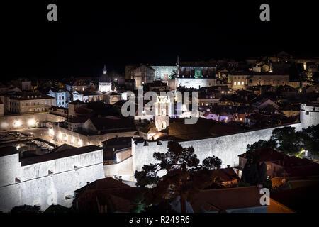 Aerial view of Dubrovnik old city at night, Croatia