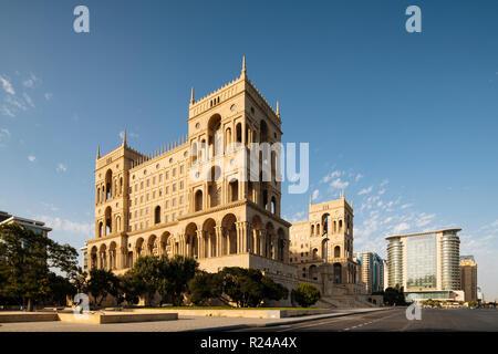 Exterior of House of Government, Freedom Square, Baku, Azerbaijan, Central Asia, Asia - Stock Photo