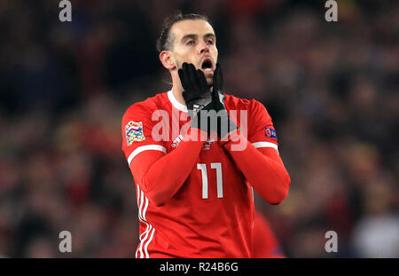 Wales' Gareth Bale reacts after a missed chance during the UEFA Nations League, Group B4 match at the Cardiff City Stadium. - Stock Photo