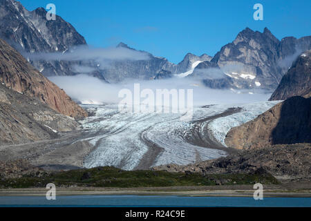 Glacier and peaks, Prince Christian Sound, southern Greenland, Polar Regions - Stock Photo