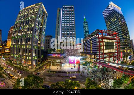 Xinyi downtown district, the prime shopping and financial district of Taipei, Taipei, Taiwan, Asia - Stock Photo