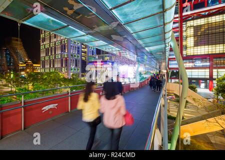 Xinyi downtown district, pedestrian bridge in the prime shopping and financial district, Taipei, Taiwan, Asia - Stock Photo