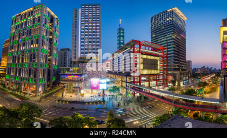 Xinyi downtown district, the prime shopping and financial district, Taipei, Taiwan, Asia - Stock Photo