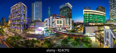 Xinyi downtown district, the prime shopping and financial district of Taipei, Taiwan, Asia - Stock Photo