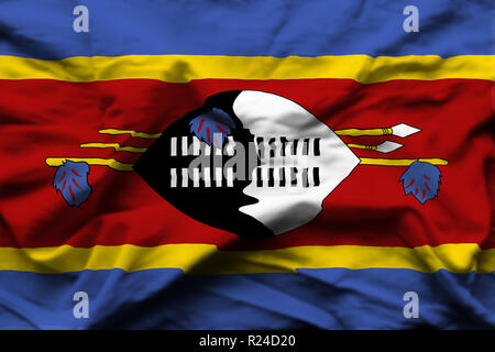 Swaziland 3D wrinkled flag illustration. Usable for background and texture. - Stock Photo