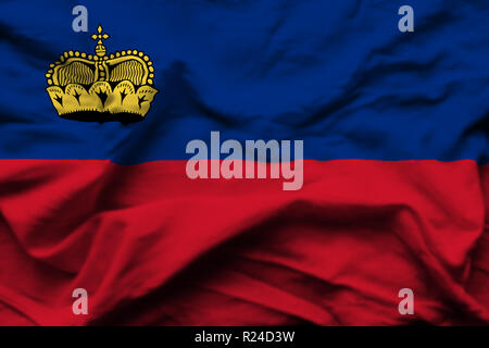 Liechtenstein 3D wrinkled flag illustration. Usable for background and texture. - Stock Photo