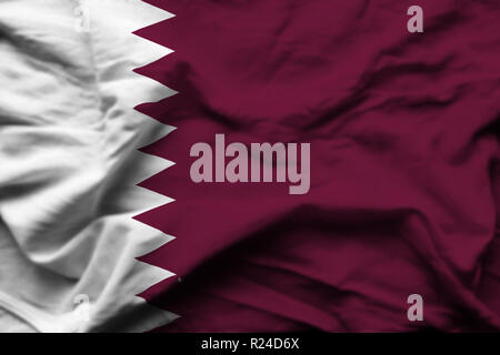 Qatar 3D wrinkled flag illustration. Usable for background and texture. - Stock Photo