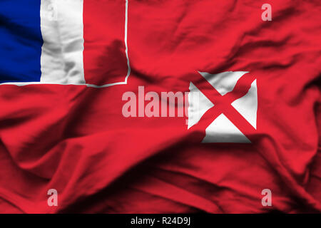 Wallis And Futuna 3D wrinkled flag illustration. Usable for background and texture. - Stock Photo