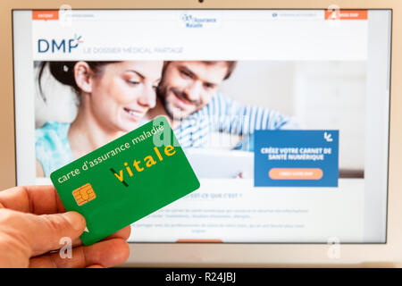 Paris, France - November 15, 2018 : French health insurance website, presenting the new 'shared medical file'(DMP), on a computer screen. - Stock Photo