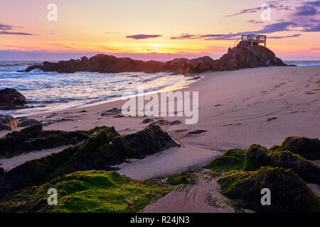 End of afternoon at the beach of tourism in Vila do Conde portugal - Stock Photo