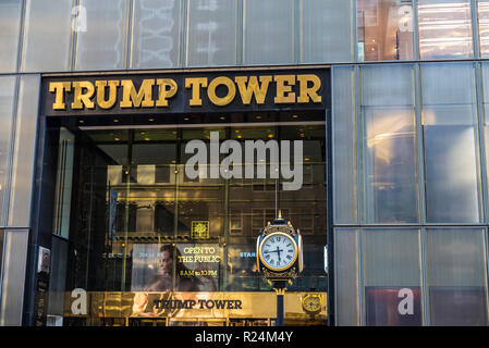 New York City, USA - July 28, 2018: Entrance to Trump Tower in Fifth Avenue (5th Avenue) in Manhattan in New York City, USA - Stock Photo