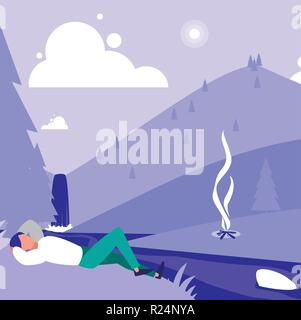 Man lying and resting in the mountain with a campfire over landscape background, colorful design. vector illustration - Stock Photo