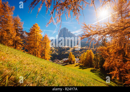 Splendid autumn landscape in Val Gardena. Location National Park Dolomite, Trentino Alto Adige, province of Bolzano, Tyrol, Italy, Europe. - Stock Photo