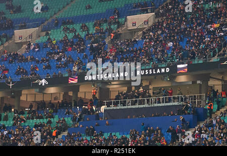 Leipzig, Germany. 15th Nov 2018. empty tribunes GERMANY - RUSSIA Important: DFB regulations prohibit any use of photographs as image sequences and/or quasi-video.  Football friendly match, test, Season 2018/2019,  November 15, 2018  Leipzig, Germany.  Credit: Peter Schatz/Alamy Live News - Stock Photo