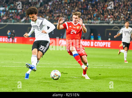 Leipzig, Germany. 15th Nov 2018. Leroy SANE, DFB 19   shoot goal for 1-0 GERMANY - RUSSIA Important: DFB regulations prohibit any use of photographs as image sequences and/or quasi-video.  Football friendly match, test, Season 2018/2019,  November 15, 2018  Leipzig, Germany.  Credit: Peter Schatz/Alamy Live News - Stock Photo