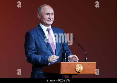 St Petersburg, Russia. 16th Nov, 2018. ST PETERSBURG, RUSSIA - NOVEMBER 16, 2018: The President of Russia Vladimir Putin addresses a gala opening concert at Mariinsky II; the event is part of the 7th St Petersburg International Cultural Forum. Vyacheslav Prokofyev/TASS Host Photo Agency Credit: ITAR-TASS News Agency/Alamy Live News - Stock Photo
